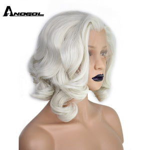 Short Body Wave Bob White Blonde Free Part Wave High Temperature Fiber Synthetic Hair Lace Front Wigs For Drag Queen