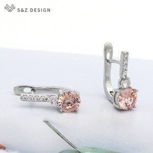 S&Z Round Micro Wax Inlay Cubic Zirconia Dangle Earrings 585 Rose Gold