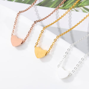 Choker Necklace Stainless Steel Rose Gold Color Dainty Heart Pendant Necklaces For Women Wedding Jewelry Kolye Bridesmaid Gifts