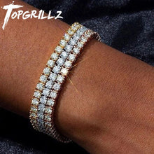 Load image into Gallery viewer, 3mm-6mm Mens/Women  AAA+ Cubic Zirconia Tennis Bracelet Hip Hop Jewelry Iced Out 1 Row Gold CZ Charms Bracelet For Gifts
