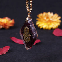 Load image into Gallery viewer, Natural garnet Orgonite pendant Hand Of Fatifa energy necklace healing jewelry for women