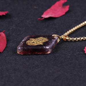Natural garnet Orgonite pendant Hand Of Fatifa energy necklace healing jewelry for women