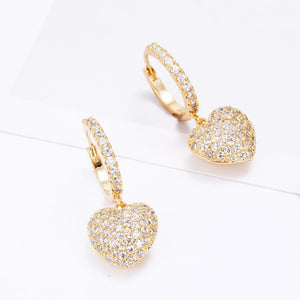 Micro Pave Heart Drop Earrings for Women Female Rose Gold Silvery Joker Sweet Cute Korean Earrings Boucle D'oreille Brincon 2020