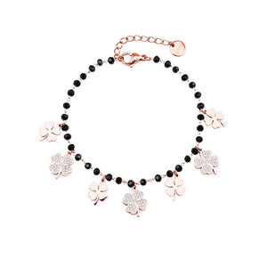 Trendy Women Summer Accessories Bracelet Stainless Steel Charms Black Crystal Beads Chain Multi Clovers Jewelry 2020 New Design