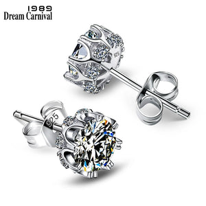 DreamCarnival 1989 Popular Style Sterling Silver 925 High Quality Zircon Stone White Luxury Daily Wear Silver Earrings