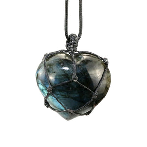Natural Stone Pendant Wrap braid Necklace Heart shape Labradorite Necklace Yoga macrame Necklace for men women Energy necklace