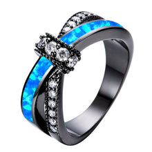 Load image into Gallery viewer, AMORUI Colorful Opal Natural Stone Ring Bagues Femme Black Gold Color Wedding Rings for Women Jewelry Anillos Mujer Gift