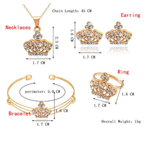 Fashion Jewelry Luxury Gold-color Romantic Austrian Crystal heart shape Chain Necklace Earrings Jewelry Sets