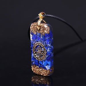 Orgonite Energy Pendant Natural Lapis Lazuli Reiki Energy Necklace Mysterious Resin Chakra Stone Growth Business Amulet