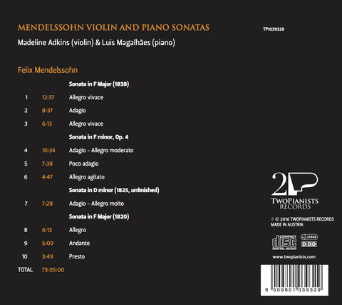 Mendelssohn Violin and Piano Sonatas