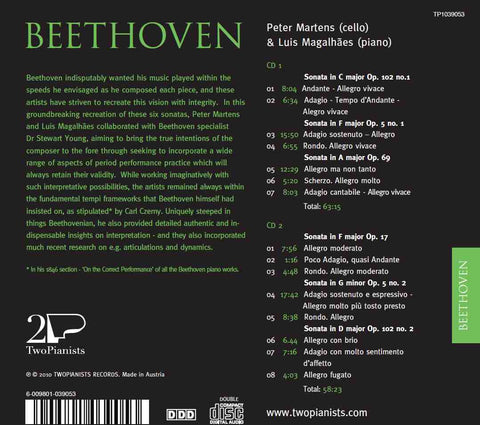 BEETHOVEN COMPLETE CELLO AND PIANO SONATAS