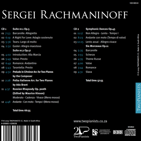 RACHMANINOFF COMPLETE WORKS FOR TWO PIANOS