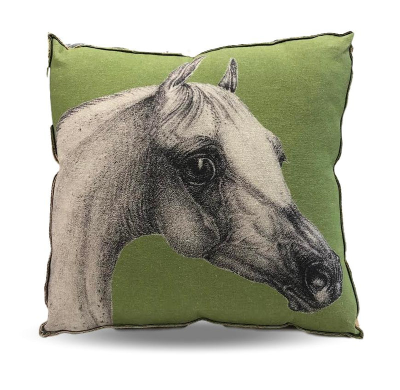 Horse head pillow, green