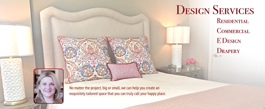 Design Services for Residential, Commercial, E-Design and Drapery. Beautiful Soft pink, cream and red bedroom