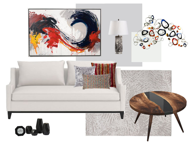 E-Design.  Interior design services, from the comfort of your own home! This board is an example: Red and Black accents on a neutral background.