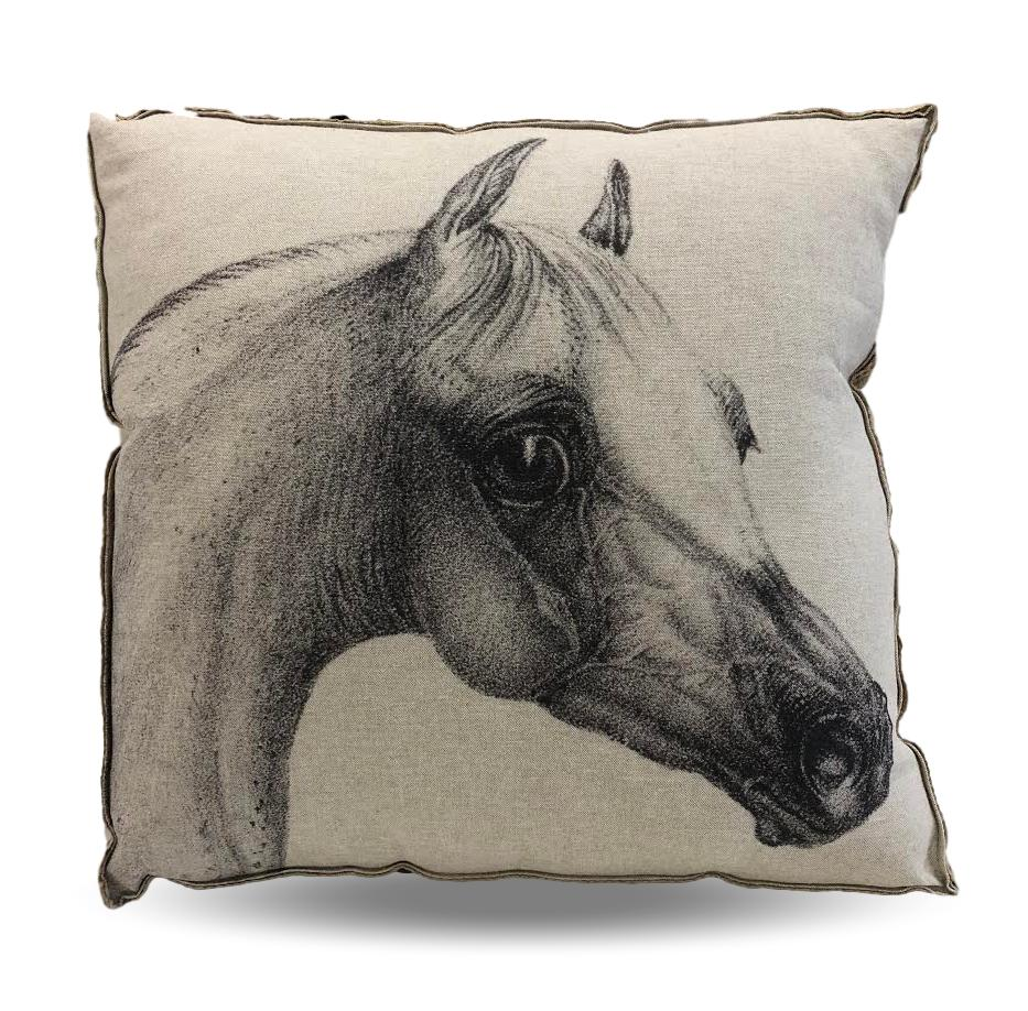 Cream Horse head pillow