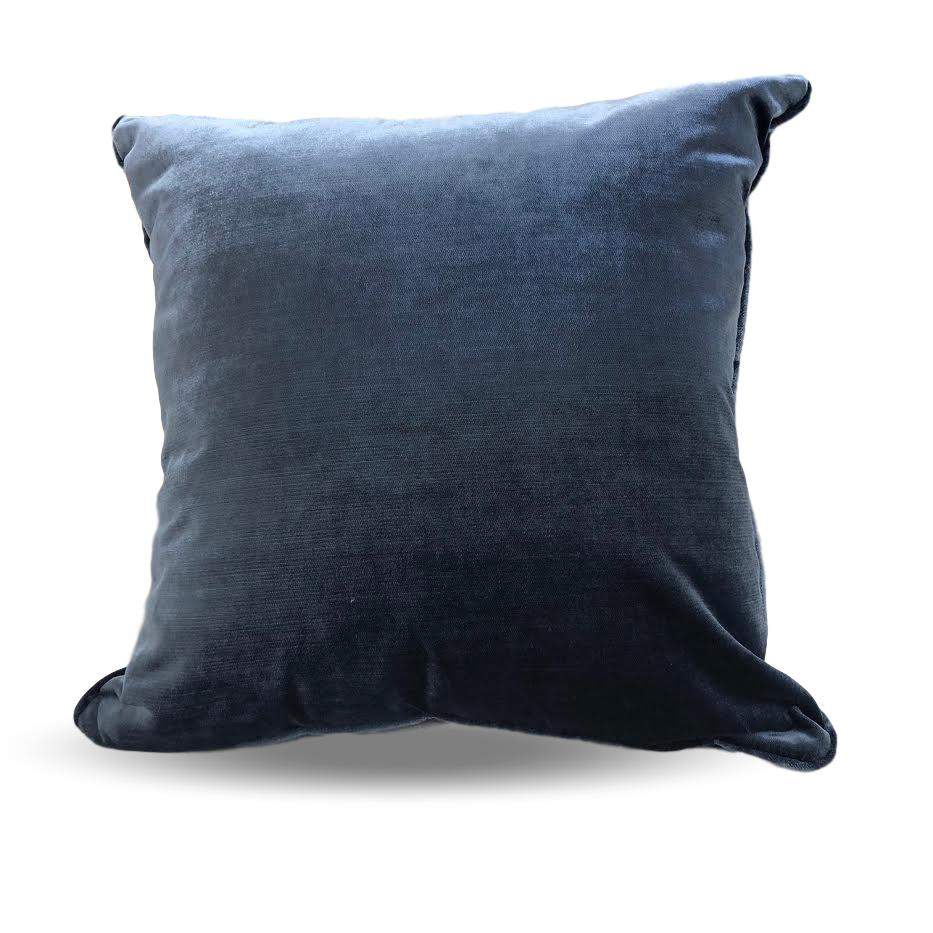 Blue velvet custom pillows