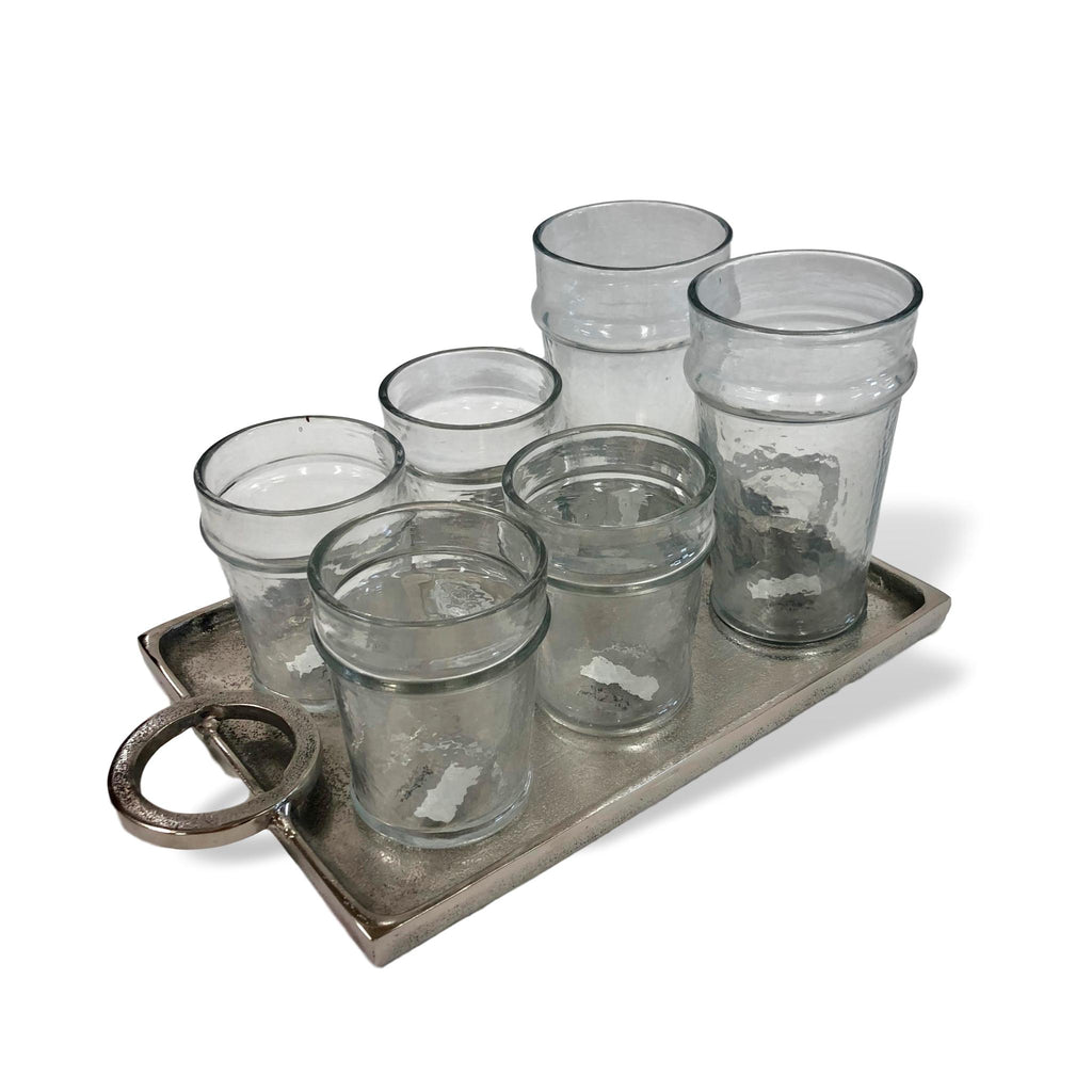 Silver Tray & Drinking Glasses