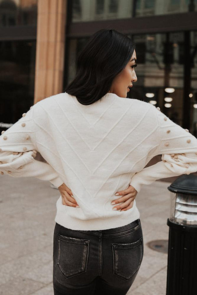 Balloon Sleeve Pom Pom Sweater