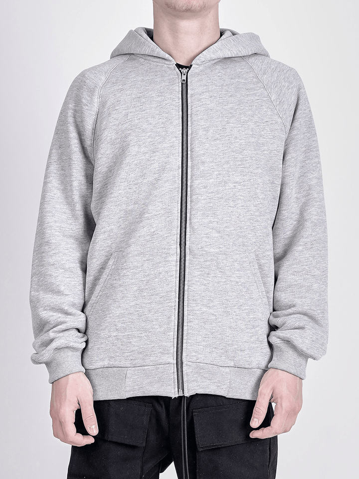 Oversized Zipper Hoodie - Heather Grey