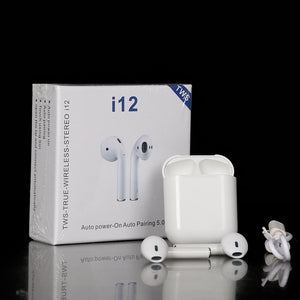 i-12TWS Bluetooth headphones for all smartphones Bluetooth Headset  (White, True Wireless)