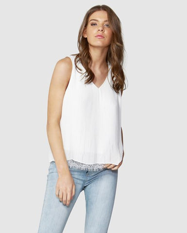 Pleated Lace Hem Top - Cavorte