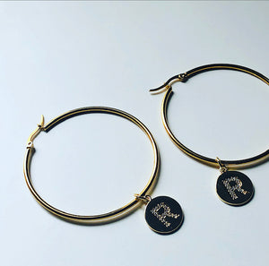 Initial Hoop Earrings