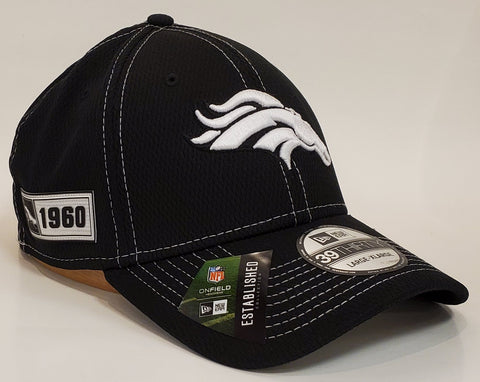 New Era Black and White Sideline Flex Fit 3930 - Denver Broncos