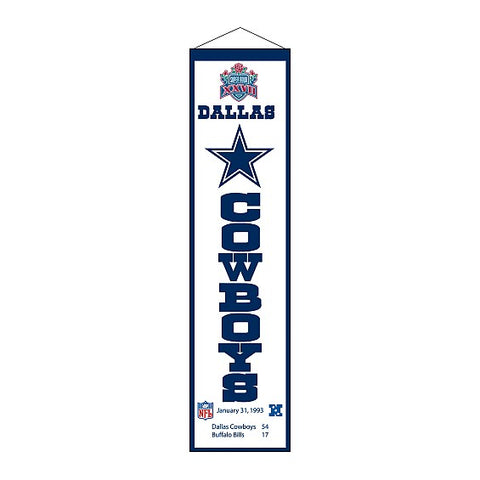 Winning Streak Super Bowl XXVII Heritage Banner Dallas Cowboys