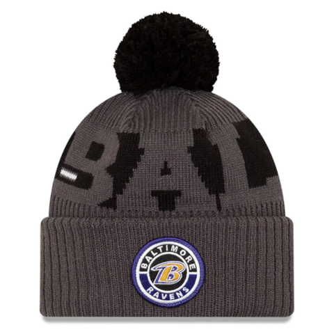 New Era 2020 Sideline Knit Hat Grey - Baltimore Ravens