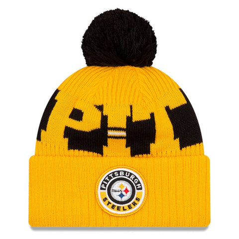 New Era 2020 Sideline Knit Hat Yellow - Pittsburgh Steelers