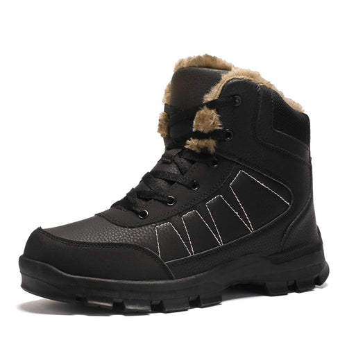Dannto Mens Snow Boots Waterproof High Top Backpacking Hiking Shoes Outdoor Sneakers(Black)