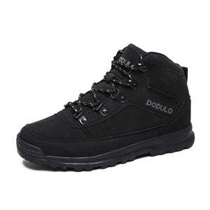 Men's Hiking Boots Outdoor Winter Warm Sneakers Casual Boots and Rubber Sole Black