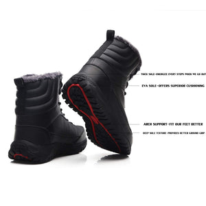 EXEBLUE Men's Waterproof Hiking Boot Winter Snow Boots Outdoor Mid Ankle Boots Lace up for Backpacking Working Adventure Black