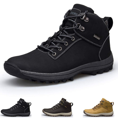 GOUPSKY Men's Winter Snow Boots Waterproof Non-Slip Lace-up Leather Outdoor Shoes for Hiking, Backpacking, Insulated All Weather Warm Mid Ankle Bootie