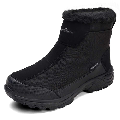 SILENTCARE Men's Warm Snow Boots, Fur Lined Waterproof Winter Shoes, Anti-Slip Lightweight Ankle Boot (Black)