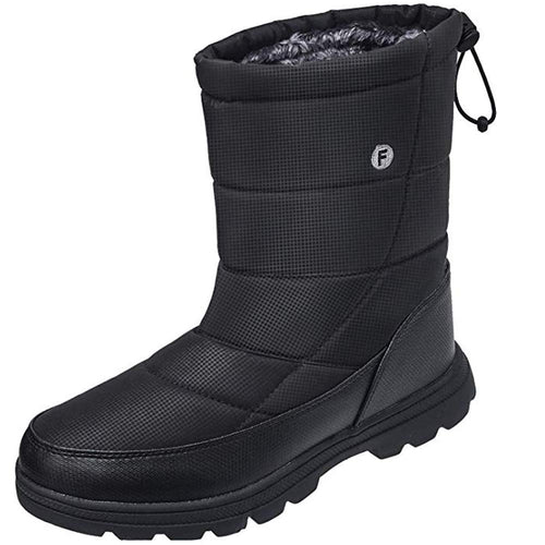 SILENTCARE Mens Winter Mid-Calf Snow Boot Fur Warm Waterproof Slip On Outdoor Athletic (Men US, Black)