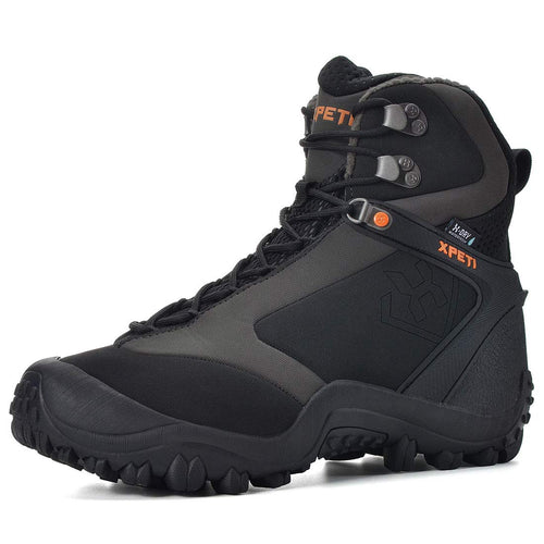 XPETI Men's Ridge Thermal Mid-Rise Waterproof Hiking Trekking Insulated Outdoor Boot, Black