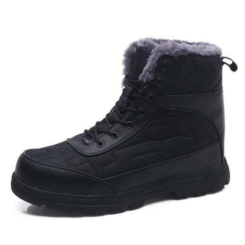 EXEBLUE Winter Snow Boots Water-Resistant Mid Calf Booties for Men Women Outdoor Lightweight Ankle Boots with Full Fur Black
