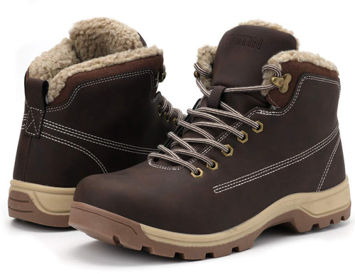 WHITIN Men's Winter Shoes Snow Boots Outdoor Trekking for Weather Warm Work Thermo Insulated Fully Fur Lined Nubuck Leather Hiking Waterproof Lace Up Anti-Slip Adult Extreme Brown