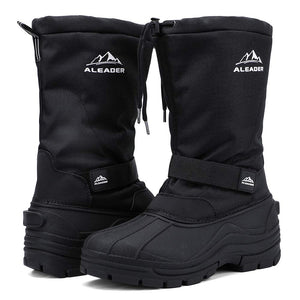 ALEADER Winter Boots for Men, Waterproof Snow Boots Hiking Shoes Black US