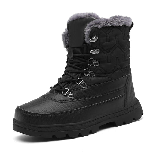 Mishansha Womens Mens Winter Mid-Calf Snow Boot Fur Warm Waterproof Slip On Outdoor Athletic Casual Walking