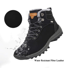 Load image into Gallery viewer, Mishansha Mens Womens Winter Warm Snow Boots Slip On Waterproof Outdoor Casual Walking Hiking Shoes Black