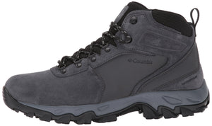 Columbia Men's Newton Ridge Plus II Suede Waterproof Boot, Breathable with High-Traction Grip Hiking, shark, black, US