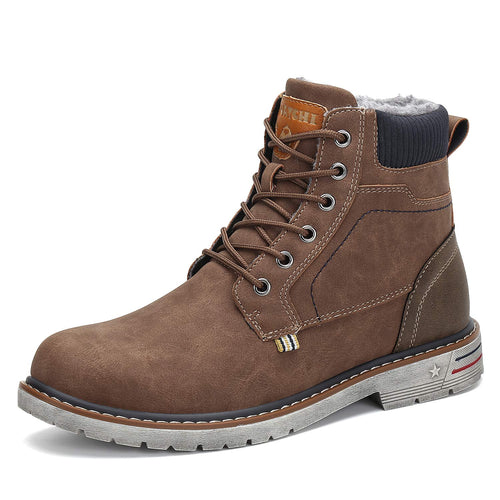 Mishansha Men's Women's Winter Snow Boots Warm Work Shoes Outdoor Ankle Bootie Brown
