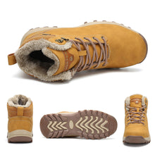 Load image into Gallery viewer, SAGUARO Mens Women Fur Lined Snow Boots Waterproof Leather Winter Booties Cold Weather Outdoor Hiking Work Shoe, Camel