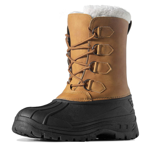 HAVEDREAM Men's Winter Snow Boots, Outdoor Waterproof Anti-Slip Warm Fur Winter Boots Lace-up Shoes for Men, Brown