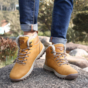 SAGUARO Mens Women Fur Lined Snow Boots Waterproof Leather Winter Booties Cold Weather Outdoor Hiking Work Shoe, Camel