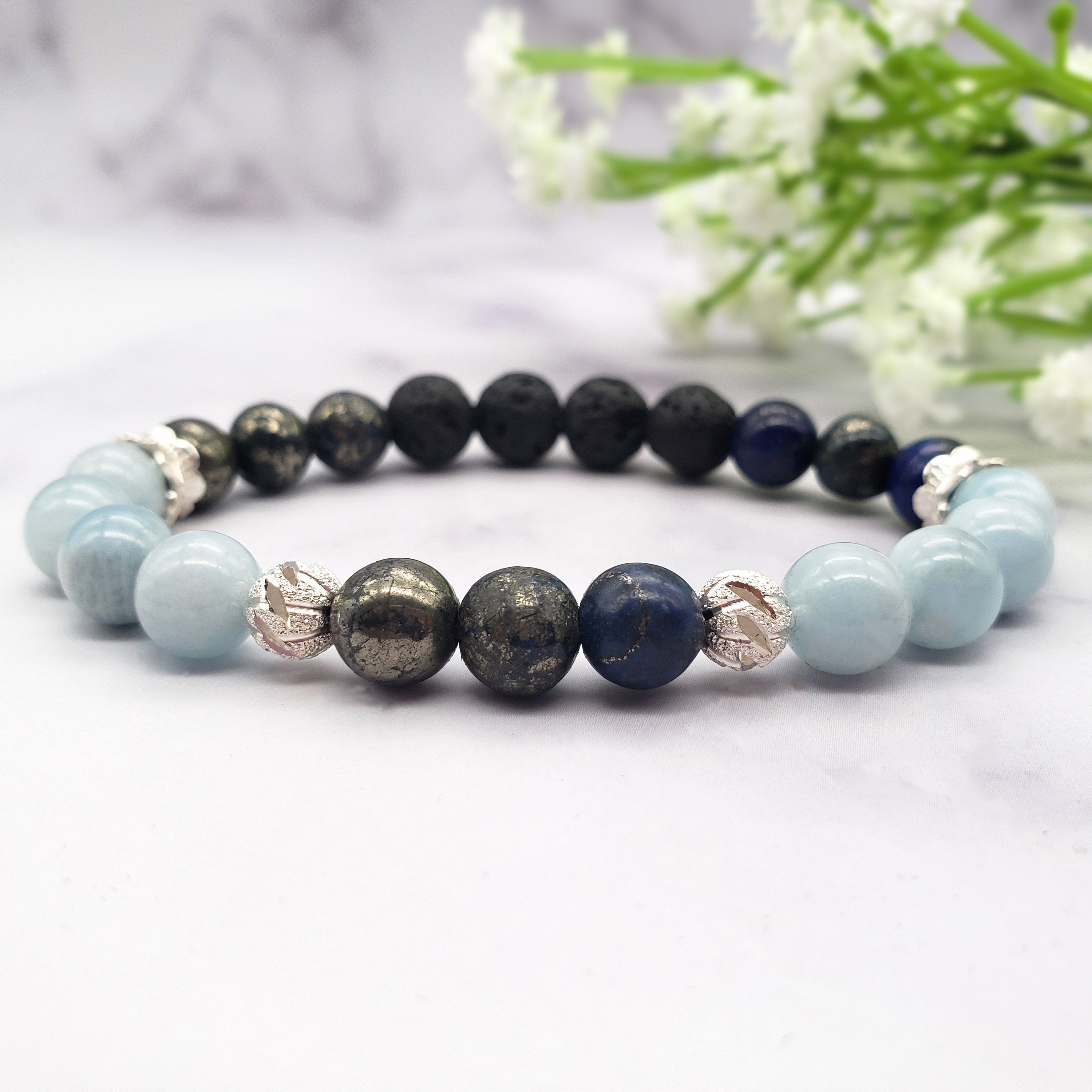 Prosperity, Money, Wealth, Luck & Abundance Gemstone Diffuser Bracelet, Healing Crystals -  8mm Aquamarine, Sky Blue Pyrite, Lava Stones