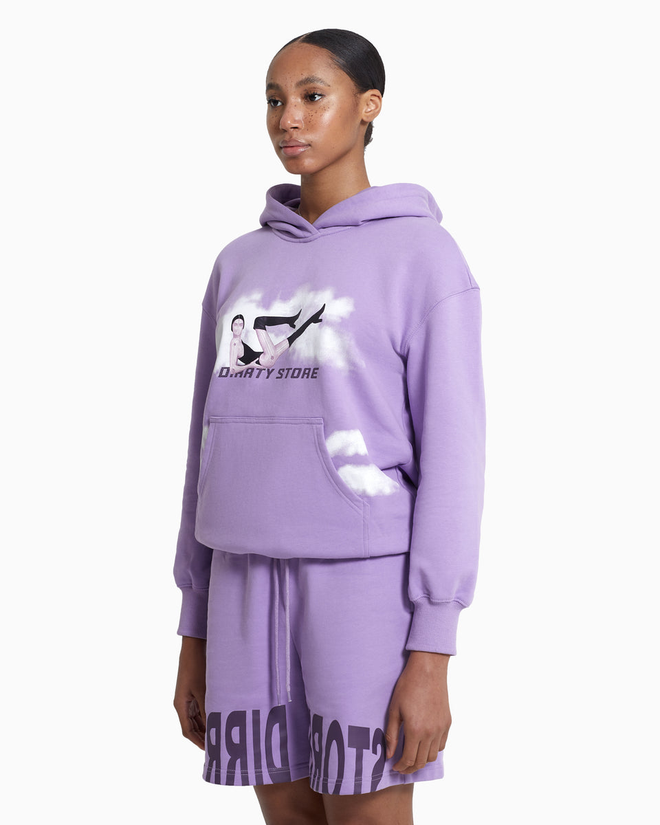 DS Purple Cloud Logo Print Hoodie